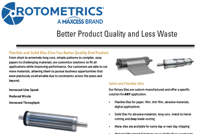 Maxcess RotoMetrics Rotary Dies Support Tooling